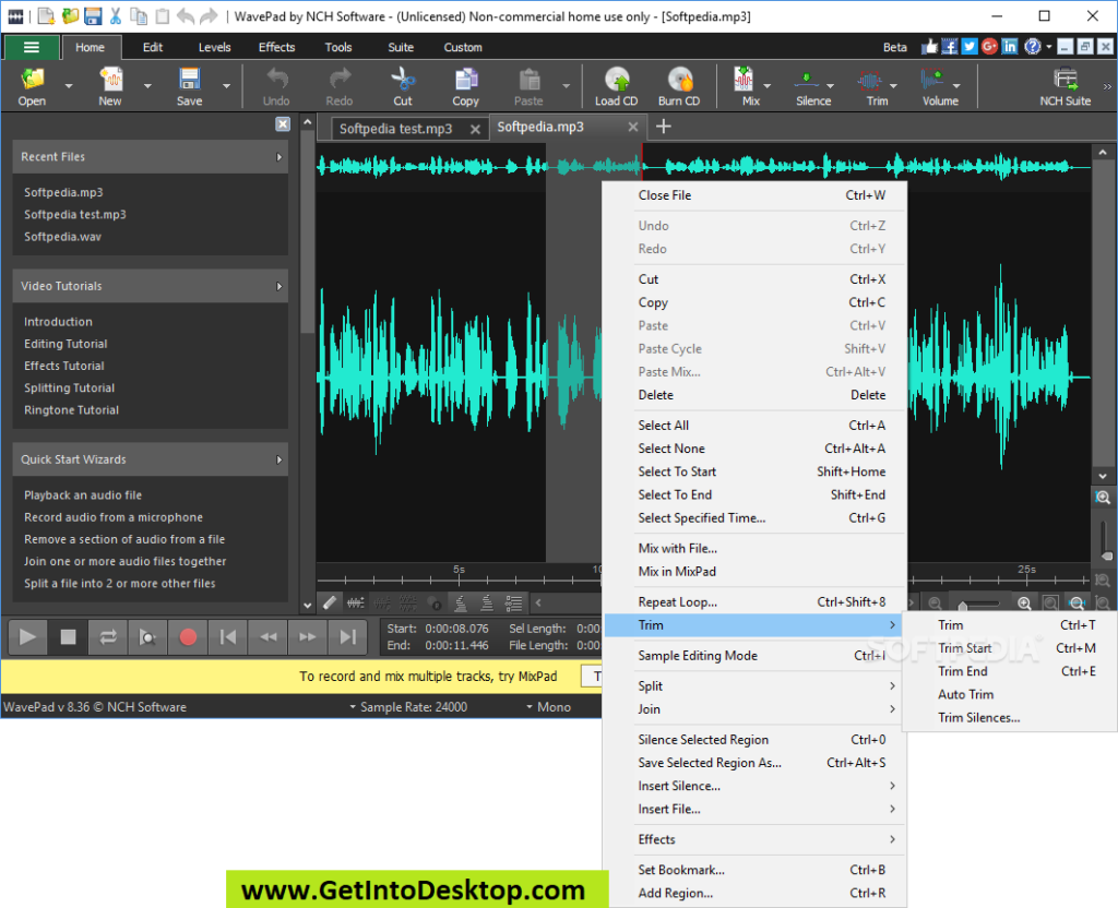 WavePad Audio and Music Editor 9 01 Free Download - Get Into PC